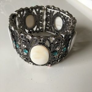 White Stone and Crystal Silver Bracelet